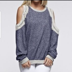 12PM by Mon Ami Lace Shoulder Sweatshirt